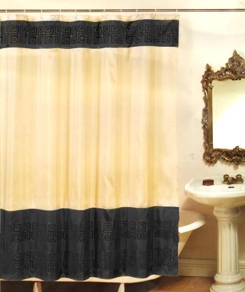 Beige Black Abstract Bath Fabric Shower Curtain Rings
