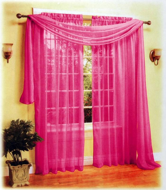 pcs sexy sheer voile window curtain panels scarf set hot pink ebay