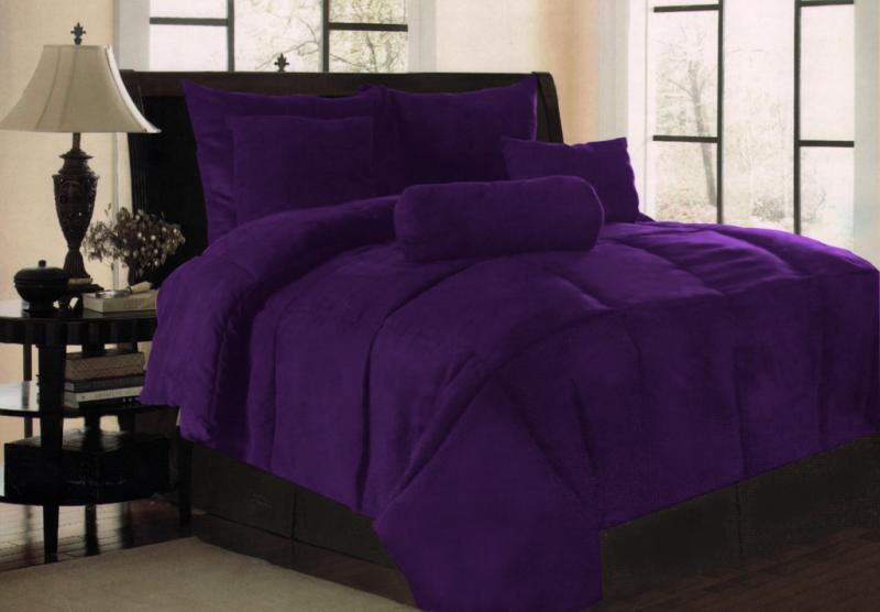 New Solid Purple Micro Suede Bedding Comforter Set King
