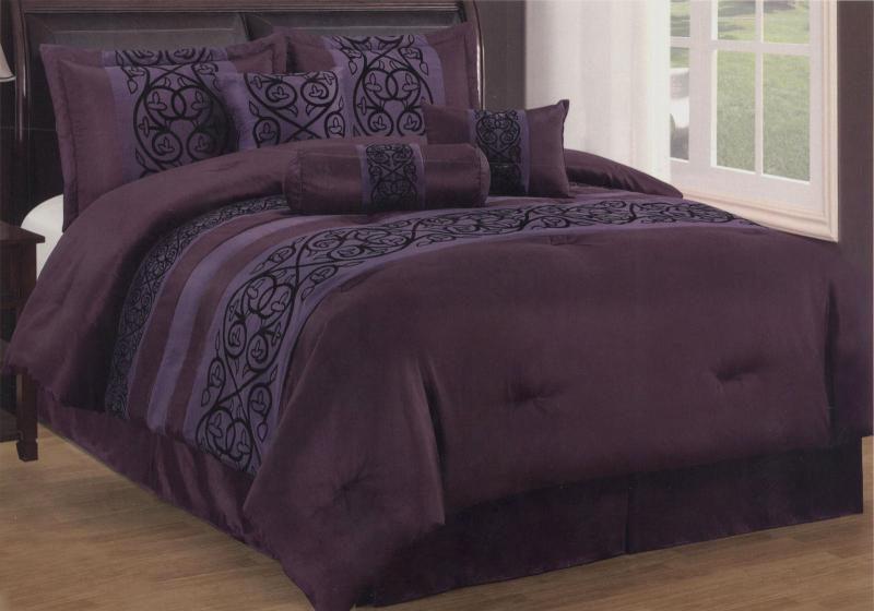 7 Piece Queen Size Comforter Set Sohpia Collection Purple