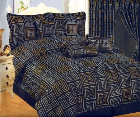 square jacquard bed comforter set queen navy blue gold. Black Bedroom Furniture Sets. Home Design Ideas