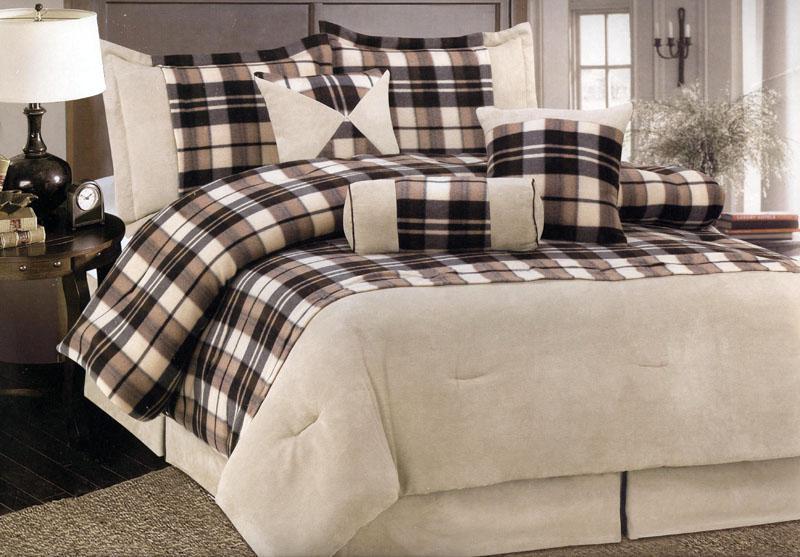 7 Pc Micro Suede+Fleece Comforter Set Queen Brown/Beige
