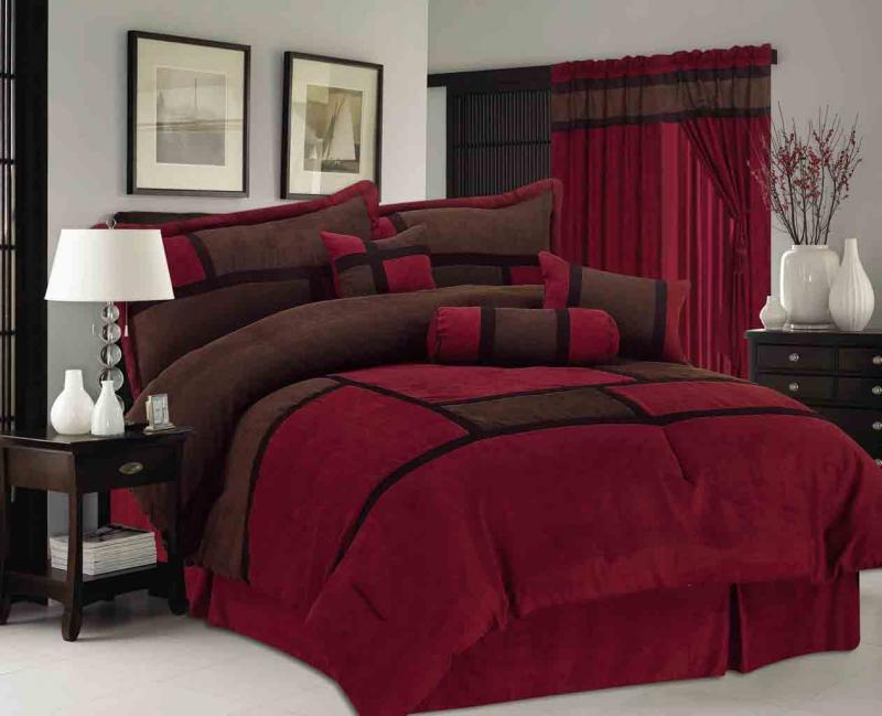 7 pieces micro suede patchwork bed in a bag comforter set king burgundy brown ebay. Black Bedroom Furniture Sets. Home Design Ideas