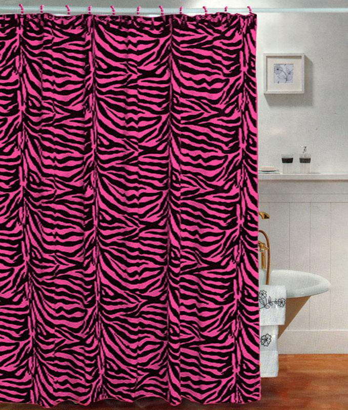 New Black Pink Zebra Pattern Fabric Shower Curtain With Pearl Style Hooks EBay