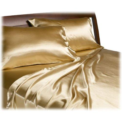 Details about Queen Satin Bedding Flat/Fitted Sheet Set Gold/Bronze