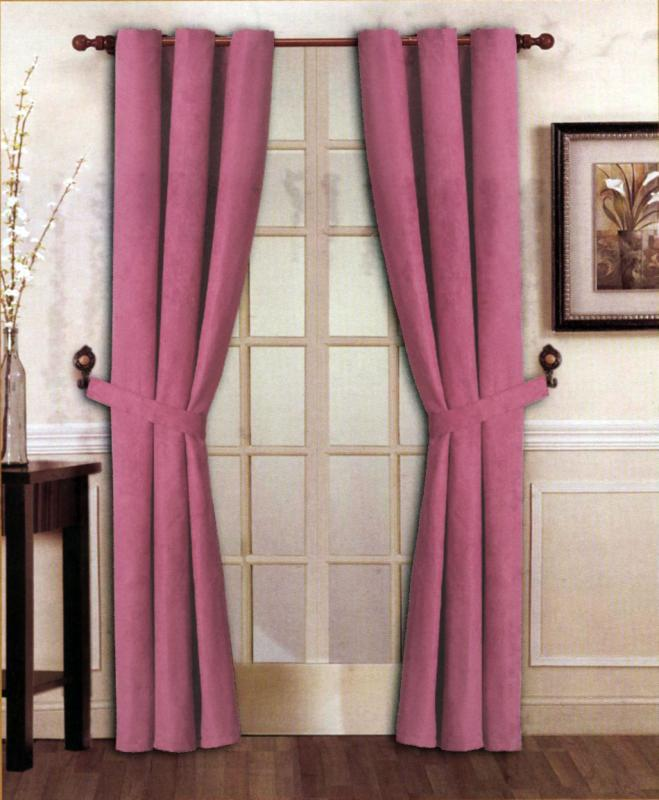 new elegant solid hot pink micro suede window curtain grommet panel