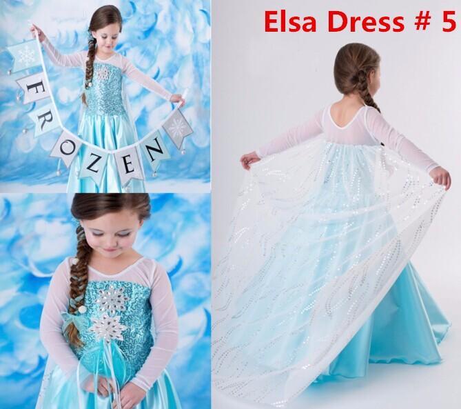 Girls Princess Elsa Anna Frozen Dressup Costume Dress Ball Gown ...