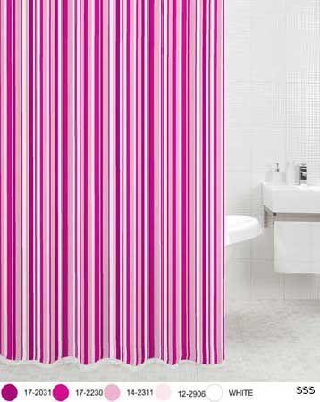 Pink Stripe Shower Curtain C W Hooks Brand New Ebay
