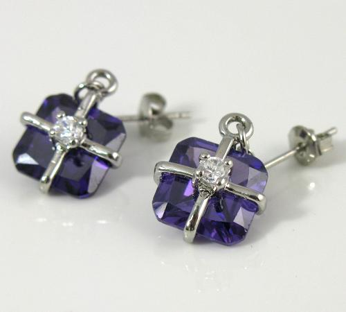Ladys Jewelry Purple Amethyst Earrings Necklace Sets