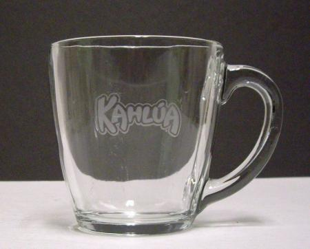 Kahlua Large Etched Logo Glass Coffee Mug 4 Tall Ebay