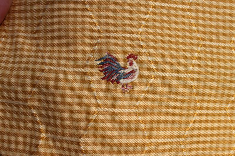 Yellow gold gingham honeycomb embroidered rooster fabric
