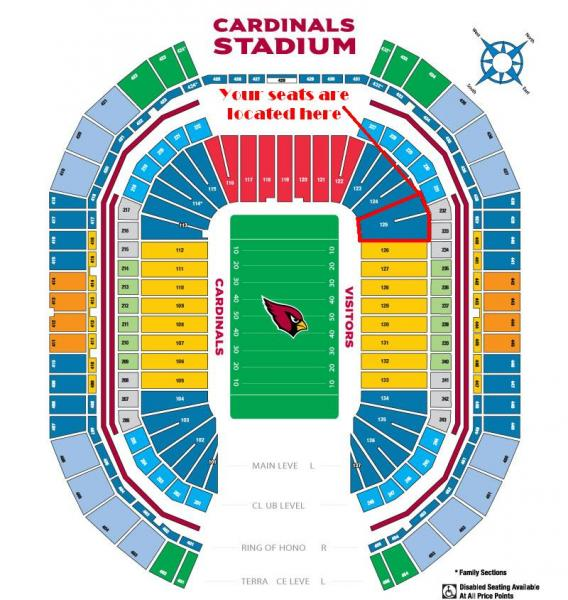 4 Tickets 1221 Los Angeles Rams At Vs Arizona Cardinals Field