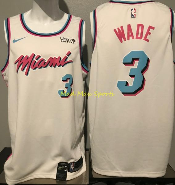 best loved e8f74 abe16 Details about DWYANE WADE Miami HEAT Vice CITY Nike SWINGMAN Jersey WHITE  with LOGO Size S-XXL