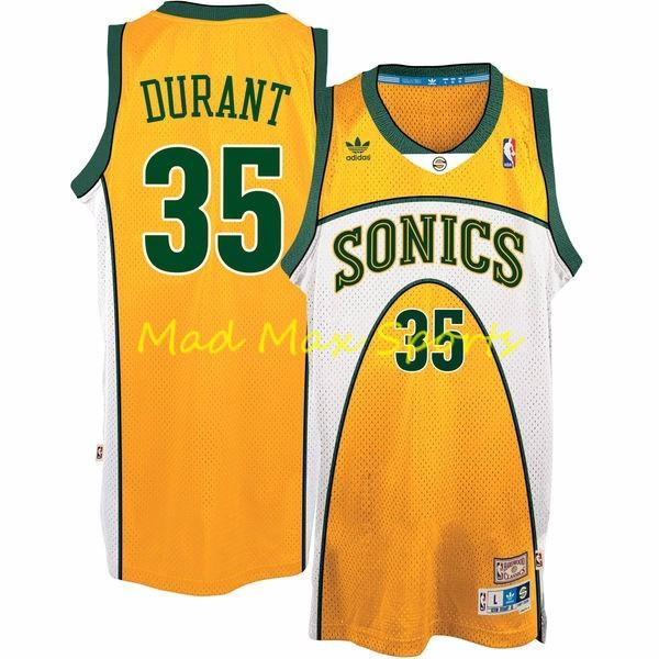 huge selection of 87fb1 912e1 Details about KEVIN DURANT Seattle SUPERSONICS Sonics Gold HWC Throwback  SWINGMAN Jersey S-2XL