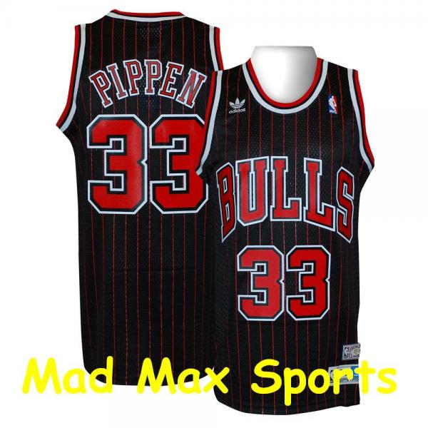 sale retailer c94a2 1becb Details about SCOTTIE PIPPEN Black CHICACO BULLS Soul NBA THROWBACK  Swingman Jersey Size S-XXL