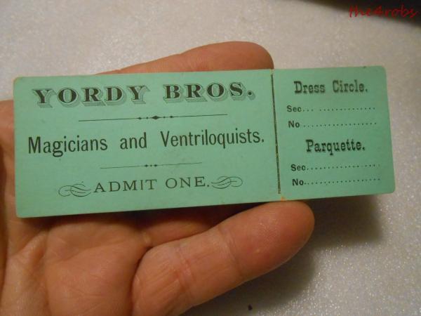 Details about Vintage Yordy Bros Magicians & Ventriloquists Ticket Stub