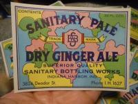 Lot of 100 Vintage Sanitary Pale Ginger Ale Soda Labels Indiana