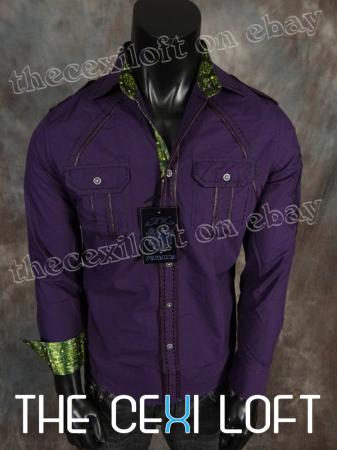 Mens PREMIUM RNZ Button-Down shirt Deep Purple Plum with HUGE ...