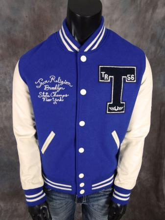 Mens True Religion Jeans Richie Varsity Jacket In Royal