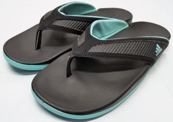 1902119c6da14 Details about Adidas Women's Adilette CF+ summer Thong Sandals - Black/Aqua  - Size 7