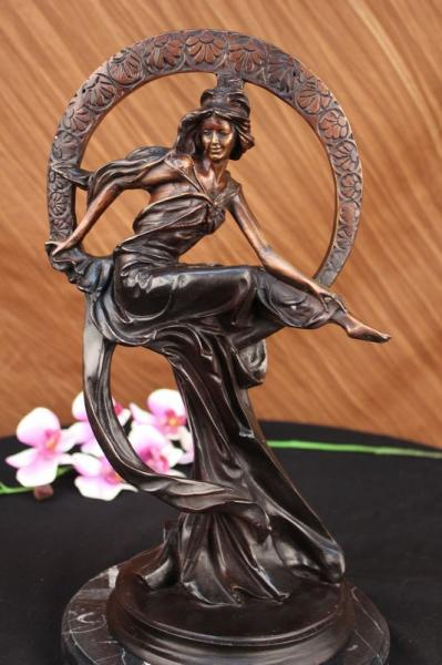 Greek Mythology Cupid God Desire W/ Love Bronze Statue