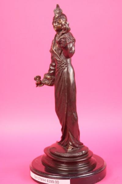 SIGNED 1940 FASHION GIRL W/ TWO DOVE BIRD BRONZE STATUE MARBLE