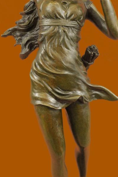 STUNNING ART DECO NOUVEAU SIGNED BRONZE NUDE FEMALE STATUE