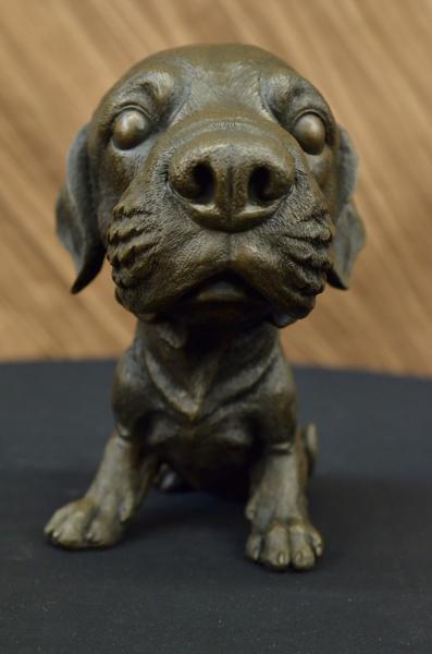 Adorable Labrador Puppy Bronze Art Deco Sculpture Figurine Figure Dog