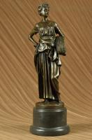 Collectible Flag Bronze Statue Handcrafted Art Sculpture With Marble Base Deco T