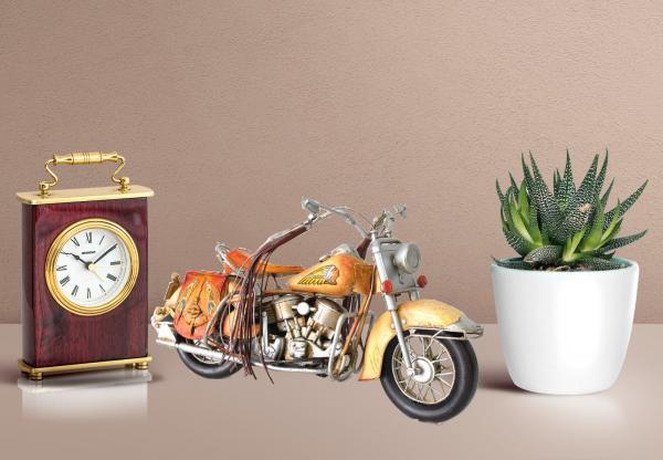Figurine d/écorative en m/étal Bleu fonc/é Design Antique//r/éaliste 27 x 17 x 10 cm Hogar y Mas Maison et Plus Moto Classique Vintage