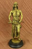Signed Golden Bronze Arabian Turkish Arabic Warrior Sculpture Statue Figurine