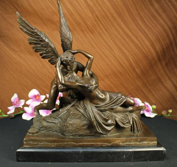 Signed Canova Psyche Revived By Cupid Bronze Statue Art Sculpture