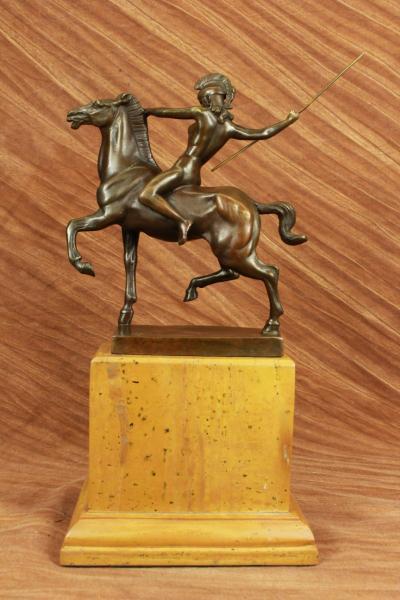 Nude Amazon Girl Riding Horse Bronze Sculpture Marble Base