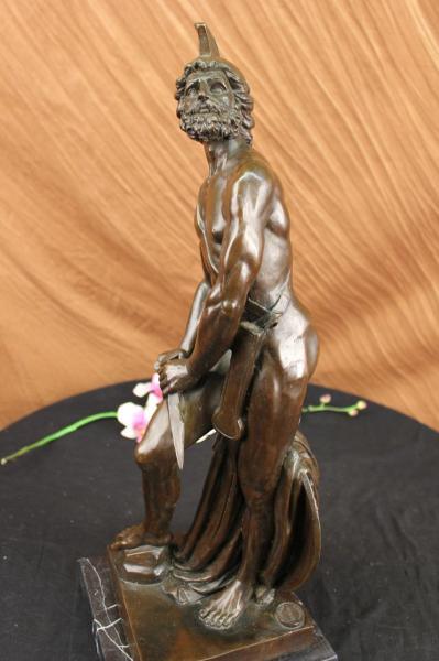 Bronze Marble Statue Roman Greek Warrior Military Hero