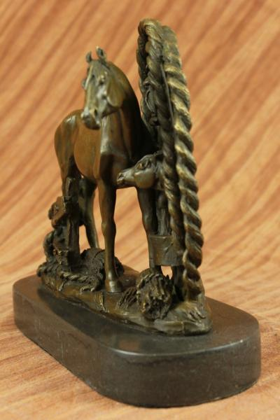 Real Bronze Metal Statue On Marble Bust Horse Head