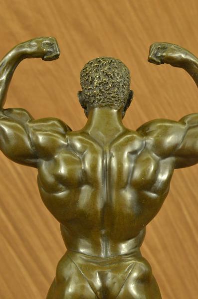 Original Bronze Iron Man Muscular Nude Male Muscle Trophy