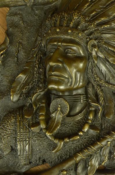 Large Bronze Indian Head Wall Hanging Plaque Western Art