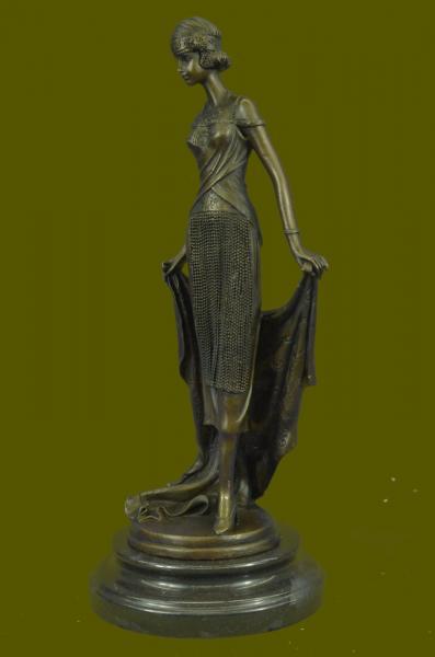bronze sculpture art nouveau deco 1940 style lady home decoration statue decor ebay. Black Bedroom Furniture Sets. Home Design Ideas