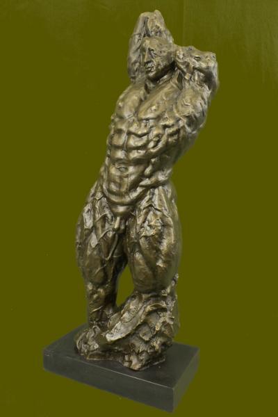 bronze skulptur original iron man muskul r akt m nnlich trophee marmorsockel ebay. Black Bedroom Furniture Sets. Home Design Ideas