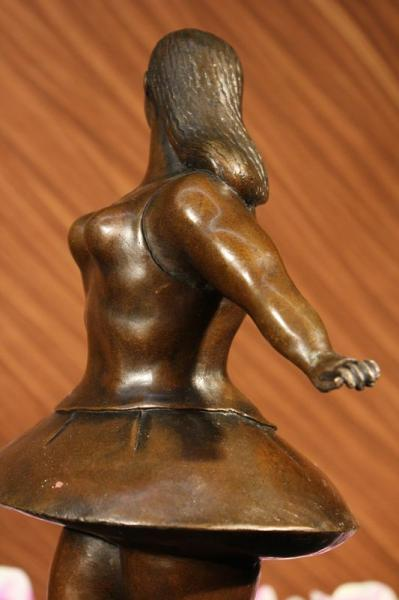 Signed Abstract Prima Ballerina After Botero Bronze Marble Sculpture