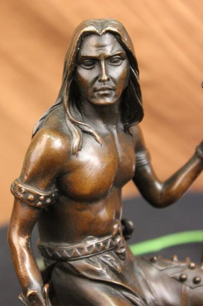 Native American Artwork Nude Warrior Chief on Horse Bronze