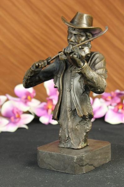 Abstract Modern Art Female Violin Fidler Player Bronze Marble