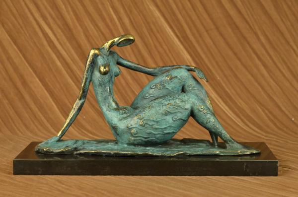 Original art deco modern abstract nude female figure bronze statue green signed ebay - Statue deco moderne ...