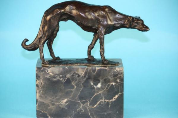 BORZOI DOG WOLFHOUND MARBLE BASE BRONZE SCULPTURE FIGURINE FIGURE