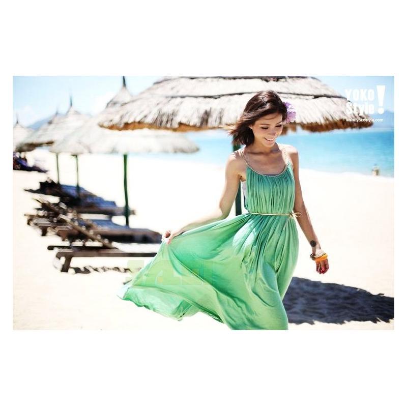 Sleeveless Strap Summer Beach Wear Long Recreational Dress Women Girl