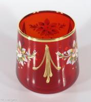 Bohemian Ruby Glass Decanter Wine Set Enamel Gold Gilt 6 Tumblers w