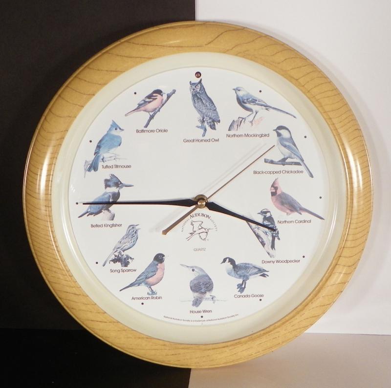 National Audubon Society Singing Bird Wall Clock Wood