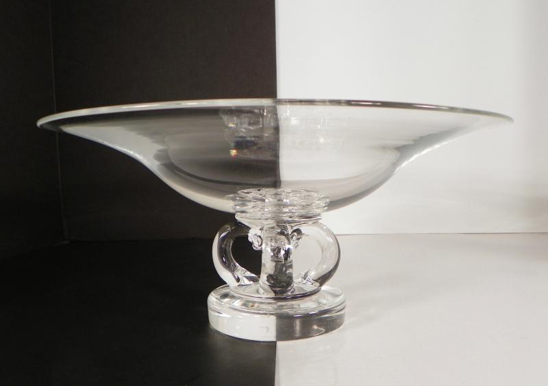 Steuben art glass modern footed centerpiece large bowl