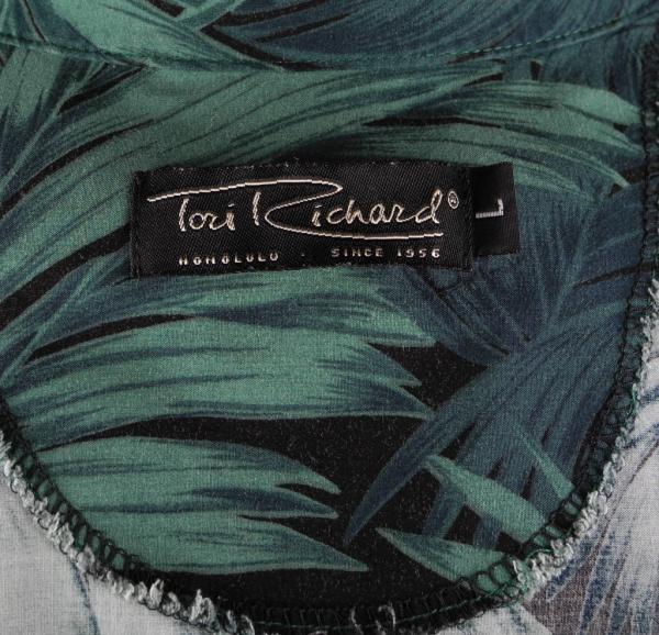 Tori Richards Cocktail Palm Tree Hawaiian Islands Shirt Large Black