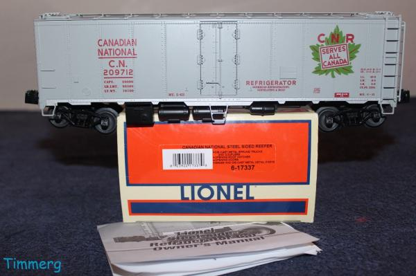 Lionel Train 6 17337 Canadian National Steel Sided Reefer